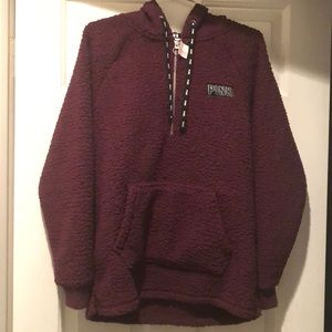 PINK Hooded Sherpa- Brand New xs